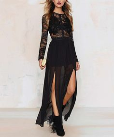 Another great find on #zulily! Black Lace Overlay Maxi Dress #zulilyfinds