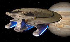 Nebula class Federation Starship, more compact than a Galaxy class, but about the same size. Star Wars, Star Trek Tv, Star Trek Ships, Sci Fi Ships, Sto Ships, Starfleet Ships, Star Trek Starships, Star Trek Universe, Star Trek Enterprise