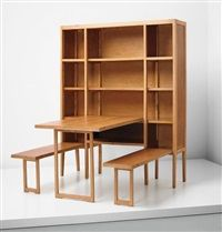 Cabinet with integrated folding table and benches by Gio Ponti