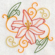 """Day Lily SquareProduct ID:K4337 Size:3.84""""(w) x 3.86""""(h) (97.4 x 98.1 mm)Color Changes:7 Stitches:6922Colors Used:6"""