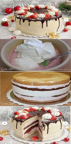 Bolo com creme de morango e limão passo a passo salve esse pin Um bolo de biscoito delicado com agradável acidez de limão e morangos suculentos. Eu acho que seus convidados não poderão recusar esse bolo!