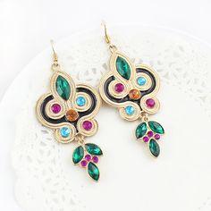 Multi Gemstone Gold Geometric Dangle Earrings <3