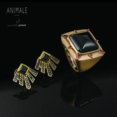 Combinação de luxo: anel Sol e brinco Cruise da coleção de joias Animale