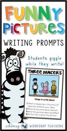Writing Workshop : Setting Up For Success Add some giggles to your writing centers! These funny picture writing prompts are a huge hit in my classroom, and a fun ways to keep add writing inspiration to my first and second grade writing lessons! First Grade Writing Prompts, Third Grade Writing, Work On Writing, Writing Prompts For Kids, Picture Writing Prompts, Writing Centers, Cool Writing, Writing Lessons, Writing Workshop