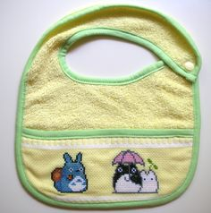 Cross-stitched Totoro bib