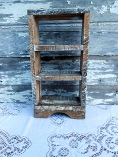 Antique small Shelf from Wood Pallets Shabby Primitive White Wash.