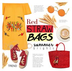 """Summer Trend: Straw Bags"" by alexandrazeres ❤ liked on Polyvore featuring Sensi Studio, Ancient Greek Sandals, summertrend, strawbags, redbag and fashionset"