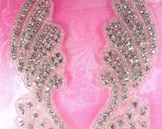 N18 Spiegel paar Rhinestone Crystal bloem Appliques door gloryshouse