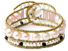Classic pink pearl bracelet by Ziio handmade with silver and black tourmaline