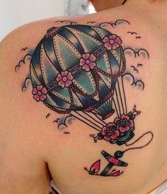 TATTOO / lovely hot air balloon tattoo - cute-tattoo