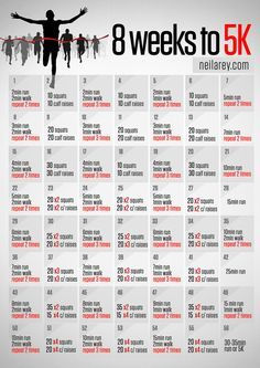 8 weeks to nice workout just to fit in for extra training . Running Plan, Running Workouts, At Home Workouts, Running Schedule, I Hate Running, How To Start Running, Fitness Diet, Fitness Motivation, Health Fitness