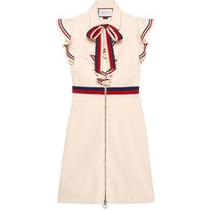 Gucci Sylvie Web Stretch Jersey Dress (84,725 DOP) ❤ liked on Polyvore featuring dresses, gucci dress, stretchy dresses, pink ruffle dress, flounce dress and stretch dresses