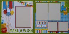 Premade Scrapbook Pages - Birthday - Make a Wish 2 page spread; Birthday Scrapbook Layouts, Baby Scrapbook Pages, Kids Scrapbook, Scrapbook Sketches, Scrapbook Page Layouts, Scrapbook Cards, Photo Layouts, Ipad, 6 Photos
