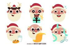 Set of six Santa Claus illustrations. Each Santa illustration is different. Some have hats, other gift boxes, reindeer antlers and more.