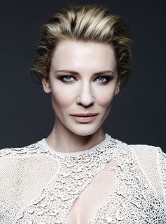 CATE BLANCHETT HARPERS BAZAAR UK DECEMBER 2013 PHOTOGRAPHER BEN HASSETT COUTURE GOWNS FRESH BRIGHT BEAUTY HAIR UP DO VOLUME FEMININE ETHEREAL EDITORIAL COVER SHOOT PROENZA SCHOULER LASER LAZER CUT WHITE GOWN SMOKY WINGED EYE EYESHADOW NUDE PINK LIPSTICK