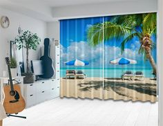 LB Scenic Curtain Ocean Theme by Window Treatment Panel for Living Room Bedroom and Kids Room Image of Summer Vacation Relaxing on Seashore Beach Chair 55Wx65LSize of 2 Panels *** You could obtain even more details by clicking the picture. (This is an affiliate link). Images Of Summer, Ocean Themes, Beach Chairs, Living Room Bedroom, Window Treatments, Kids Room, Relax, Windows, Curtains
