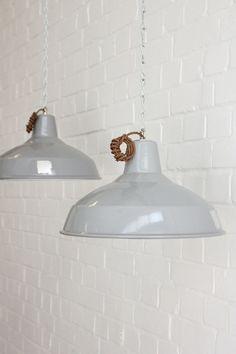 Vintage+Industrial+Grey+Enamel+Factory+Pendant+Lights Vintage Industrial Lighting, Pendant Lights, Enamel, Bulb, Ceiling Lights, Grey, Home Decor, Gray, Vitreous Enamel