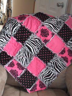 Zebra Print and Hot Pink Rag Quilt. $262.00, via Etsy.