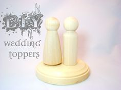 DIY Wedding Cake Toppers with Base 2 Unpainted Dolls by Pegged