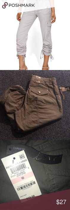 c35d830c Inc cargo Capri women's pants. Curvy fit These cute ruffle bottom cargo  style Capri pants
