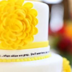 Another gorgeous sunshine party-- love the cake, the yellow polkadot brownies, and the yellow rock candy.