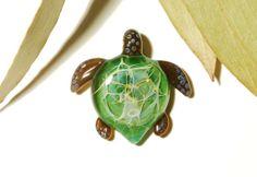 Sacred Tree Turtle  Glass Jewelry - Glass Art by Creative Flow Glass.