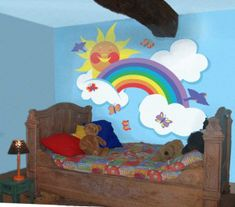 rainbow bedroom ideas rainbow bedroom ideas over the rainbow wall stories paint by number mural rainbow bedroom decorations rainbow bedroom decorating ideas Rainbow Room Kids, Rainbow Bedroom, Rainbow Theme, Rainbow Wall, Kids Bedroom Paint, Girls Room Paint, Girl Room, Bedroom Wall, Bedroom Ideas
