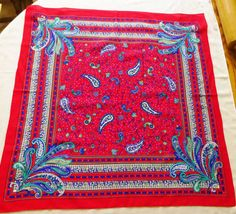Vintage Scarf Magnificent Paisley Bright Multi by Study Photos, Vintage Scarf, Red And Blue, Bohemian Rug, Vintage Items, Paisley, Bright, This Or That Questions, How To Make