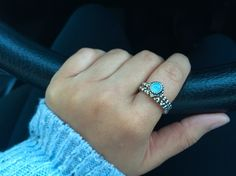 March birthstone stacked with chain of hearts silver ring