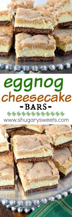 Eggnog Cheesecake Bars – Shugary Sweets Layered Eggnog Cheesecake bars with a gingersnap crust, creamy cheesecake filling and snickerdoodle cookie topping! This is the ultimate dessert recipe, and it's easy enough to make! Winter Desserts, Köstliche Desserts, Holiday Baking, Christmas Desserts, Dessert Recipes, Bar Recipes, Winter Recipes, Recipes Dinner, Eggnog Cheesecake