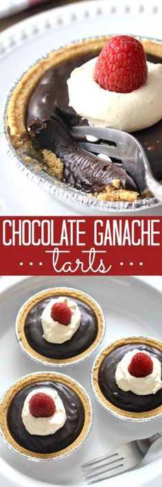 Rich Chocolate Ganache Tarts topped with fresh orange whipped cream  and raspberries. Simple, elegant, and so incredibly decadent!!
