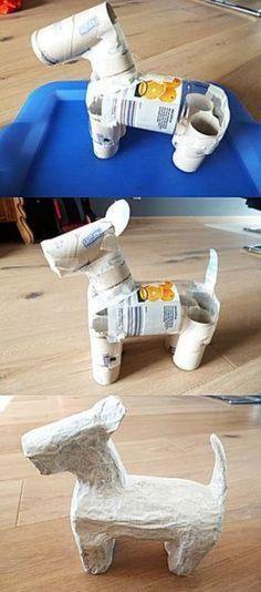 Hond maken -- Leuk om te knutselen Paper Crafts - The Ultimate Craft Ideas Paper crafts had been ver Paper Mache Projects, Paper Mache Clay, Paper Mache Sculpture, Paper Clay, Diy Paper, Paper Crafting, Paper Art, Paper Mache Crafts For Kids, Art Projects