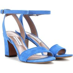 Tabitha Simmons Leticia Suede Sandals ($380) ❤ liked on Polyvore featuring shoes, sandals, blue, suede sandals, tabitha simmons sandals, blue sandals, blue suede shoes and tabitha simmons shoes