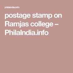 postage stamp on Ramjas college – PhilaIndia.info