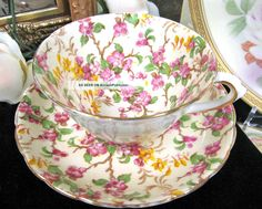 Tuscan Chintz Blossoms Hand Painted Tea Cup And Saucer
