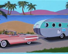 Mid Century Modern Eames Retro Limited Edition Print from Original Painting 1960 Chevy Impala and Airflow Trailer Gouache Painting, Painting Prints, Hand Painted Canvas, Modern Cross Stitch Patterns, Mid Century Modern Design, Mid-century Modern, Modern Living, Limited Edition Prints, Abstract Wall Art