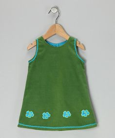 Take a look at this Dark Green Flower Corduroy Dress - Infant, Toddler & Girls by Dreaming Kids on #zulily today!