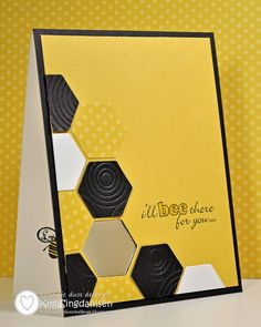 Bumble Bee Card..predominantly yellow and black with a bee sentiment...