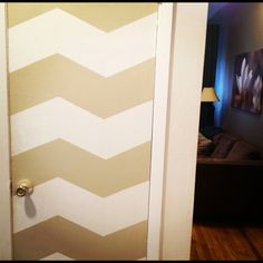 Beige and white Chevron door