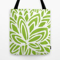 Tote Bag featuring Big Green Flowers by Robin Gayl