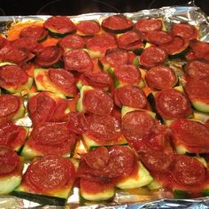 ZUCCHINI PIZZA! On a foil lined baking sheet, layer zucchini pieces, pasta/pizza sauce and pepperoni. Top with parmesan. Bake @ 350° for 30-45 minutes.