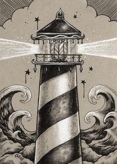 Gray Lighthouse Nautical Art Print - by Bryan Collins