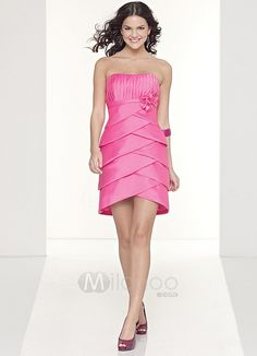 Pink Strapless Satin Cocktail Dress