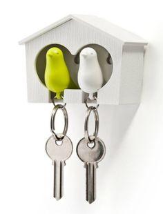 Schlüsselanhänger mit Schlüsselkasten - Spatzen im Haus mit Pfeife
