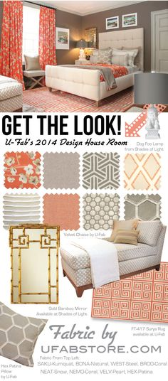 Coral, Grey, White & Gold accents give this room a warm oriental feel.   U-Fab's 2014 Charlottesville Design House Room, all fabric, window treatments & Furniture by www.ufabstore.com