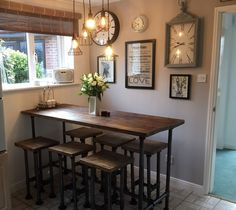 High Gas Pipe Breakfast Bar Kitchen Table Reclaimed Scaffold