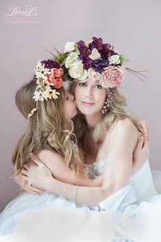 Mother daughter #portrait, #floral headpiece, parent child, #child #photography…