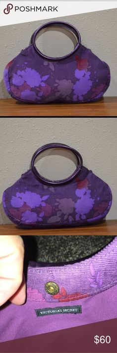 "VS Mini Purse Purple Corduroy - Rare Super cute purple VS mini purse. Corduroy like material outside. Solid round handles. Small stain inside. See pic. Otherwise great condition. Snap closure. About 11"" x 9"".   🚫smoke 🏡 with 🐈🐩. Victoria's Secret Bags Mini Bags"