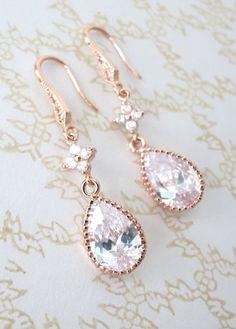 Rose Gold Cubic Zirconia Teardrop Earrings - gifts for her, earrings, bridal gifts, drop, dangle, pink gold weddings, bridesmaid earrings, www.colormemissy.com