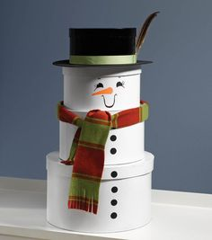 Stacked Hat Box snowman